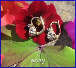 Boucles doreilles dormeuses anciennes diamant or 18 carats et platine French