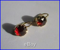 Boucles doreilles dormeuses anciennes or 18 carats grenats 3,3g Gold 750