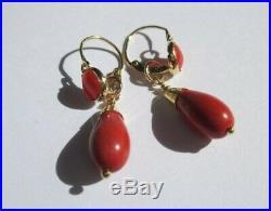 Boucles doreilles dormeuses anciennes pendantes Corail Or 18 carats 750