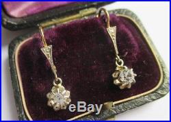 Boucles doreilles dormeuses anciennes pendantes Gold or 18 carats 750