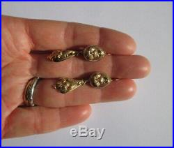 Boucles doreilles dormeuses anciennes pendantes Napoléon III Or 18 carats 750
