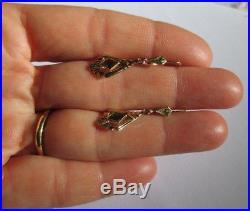 Boucles doreilles dormeuses anciennes pendantes Pierres bleues Or 18 carats