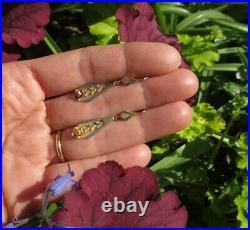 Boucles doreilles dormeuses anciennes pendants Or 3 couleurs 18 carats 750