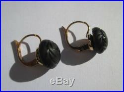 Boucles doreilles dormeuses anciennes perle jais étoile Or 18 carats Gold 750