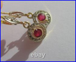 Boucles doreilles dormeuses pendantes anciennes or massif 18 carats gold 750