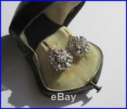 Boucles doreilles dormeuses régionales anciennes Diamants Argent Or 18 carats