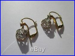Boucles doreilles dormeuses trembleuses anciennes Diamants Or 18 carats 750