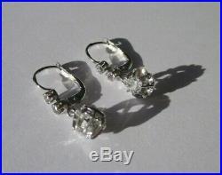 Boucles doreilles dormeuses trembleuses anciennes Or blanc 18 carats 750 3,3g