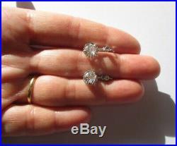 Boucles doreilles dormeuses trembleuses anciennes Or blanc 18 carats 750 3,6g