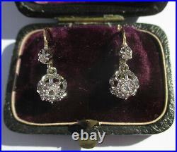 Boucles doreilles dormeuses trembleuses anciennes diamants or 18 carats platine