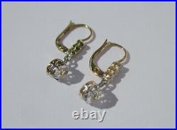 Boucles doreilles dormeuses trembleuses anciennes en or massif 18 carats 750