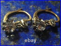 Boucles oreilles dormeuses anciennes non diamant Or Gold 750 18k Poinçon 2,69g