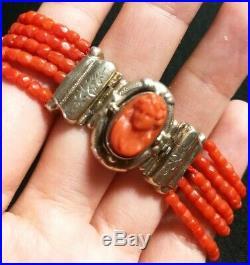 Bracelet Corail Ancien Et Fermoir Argent Camée En corail Vermeil Napoléon III