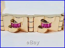 Bracelet ancien Tank en Or jaune 18 carats Pierres rouge 18.5 cm 67.28 grammes