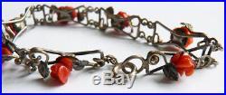 Bracelet ancien argent massif et corail coral + silver 1900 corallo