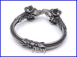 Bracelet jonc ancien vintage en argent massif tête de belier (2)
