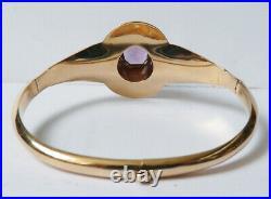 Bracelet jonc en OR massif 18k et améthyste Bijou ancien gold