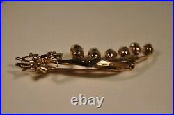 Broche Ancienne Muguet Or Massif 14k Antique Solid Gold Lily Of The Valey Brooch