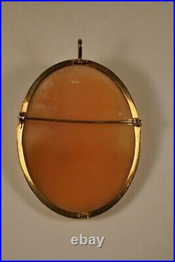 Broche Camee Ancien Or Massif 18k Antique Solid Gold Carved Shell Cameo Brooch