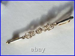 Broche Ou Epingle Bijou Ancien Or 2 Tons 18 Carats Diamants