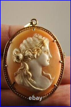Broche Pendentif Or Massif Camee Ancien Antique Carved Shell Cameo Gold Brooch