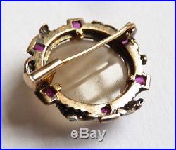 Broche ancienne OR massif + diamants + rubis avec camée agate 19e diamonds