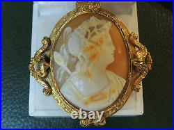 Broche camée ancienne or 18 carats