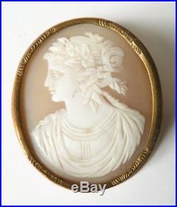 Broche camée coquille début du 19e siècle bijou ancien jewel cameo