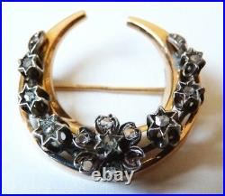 Broche croissant Or massif diamants ancien 19e antic jewel gold brooch diamond