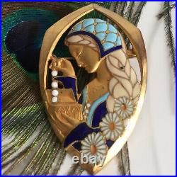 Broche émaillée Signée E. Bouillot Femme Art Nouveau / Art Déco Bijou Ancien