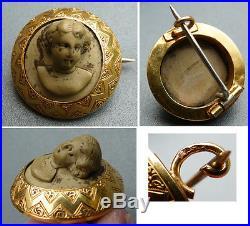 Broche en camée pierre de lave et OR massif Bijou ancien 19e siè gold lava cameo