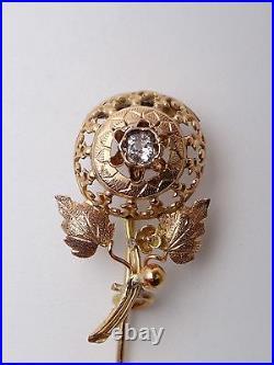Broche épingle Provençale ancienne en or 18k XIXeme fleur bijou regional