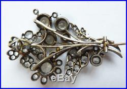 Broche pendentif en Or + argent + pierres bijou ancien 19e siècle antic jewel