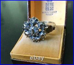 C1800 Splendide Ancienne Bague Or 18k Argent Gros Diamants En Roses