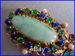 Christian Dior Ancienne Broche Couronne Plaque Or Pate De Verre Vert Bleu Brooch