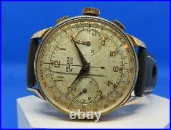 Chronographe ancien Berna de Luxe Valjoux 22 spiral Bréguet, oversize, révisé
