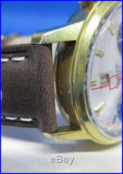 Chronographe ancien Guilde Reglex Landeron 189, panda, vintage, révisé