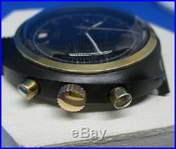 Chronographe ancien Huma Valjoux 7734, PVD noir vintage, révisé