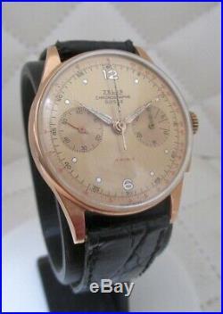 Chronographe ancien Zelus, Landeron 51, or massif 18k, vintage, révisé