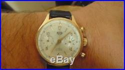 Chronographe suisse ancien mécanique ALIHOR pl OR date LANDERON 187 restauré