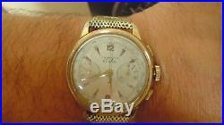 Chronographe suisse ancien mécanique ESKA pl OR LANDERON 48 bracelet CORFAM neuf