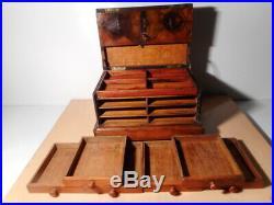 Coffret boite écrin bois ancien 19 XIX siècle rangement médaille bijoux