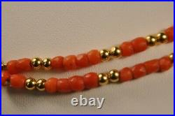 Collier Ancien Corail Or Massif 18k Antique Coral Solid Gold Necklace