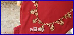 Collier Ancien Filigrane Drapeaux Or Massif 18 Carats 750