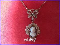Collier Ancien Or Blanc 18k Origine France Napoleon III Diamants