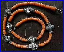 Collier Perle Corail Argent Ancien Antique Natural Coral Silver Bead Necklace