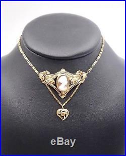 Collier ancien en or 18k émail noir pendentif camée et coeur XIXe Napoleon III