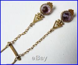 Collier négligé en OR massif + améthyste Bijou ancien gold necklace