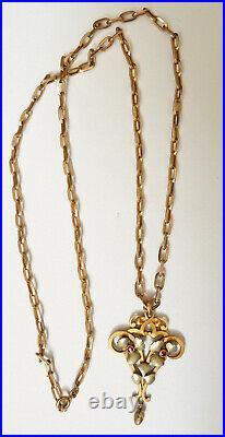 Collier pendentif avec chaine ART NOUVEAU en FIX vers 1900 Bijou ancien