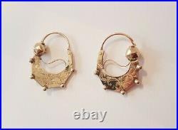 Créoles anciennes Boucle d'oreilles Or 18 carats! Début XXeme OLD EARRINGS GOLD